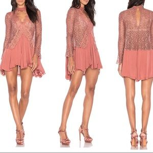 Free People Secret Origins Lace Tunic In Mauve NWT